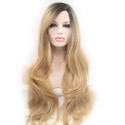 Cupidlovehair Long Big Natural Wavy Black Ombre Blonde Colour Heat Resistant Synthetic Lace Front Wigs For Women