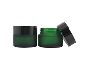 TOPWEL 30ML(1 OZ) Green Glass Empty Refillable Cosmetic Cream Jar Pot Bottle Container
