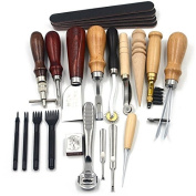 Joinor 18pcs Leather Carft Punch Tools Kit Stitching Carving Working Sewing Saddle Groover Leather Craft Diy Tool