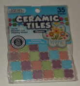 Mosaic Flower Ceramic Tiles, 35-Pack, Multi-Colour