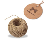 KINGLAKE®100 Pcs Kraft Paper Gift Tags Handmade Tags Wedding Hang Tags Crafts Tags with 30m Natural Jute Twine