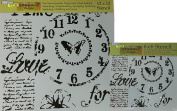 The Crafter's Workshop Set of 2 Stencils - Time for Love 30cm x 30cm Mini 15cm x 15cm - Includes 1 each TCW622 and TCW622s - Bundle 2 Items