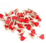 Yosoo 100pcs Mini Heart-shaped Wooden Clothespin Craft Clips Wooden Letters for Scrapbooking Wood Crafts Wedding Decoration - 3cm x 2cm