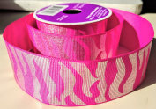 Metallic Pink Zebra Pattern Celebrate It 3.8cm . X 2.7m 100% Polyester Ribbon - Great for Any Occasion!