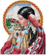 Indian beauty and her dog counted cross stitch, cotton thread , 14ct 161*180 stitch39*43cm counted cross stitch kits