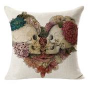 SMTSMTLinen Decorative Cushion Covers Vintage Skull Throw Pillow Cases