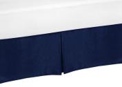 Sweet Jojo Designs Navy Toddler Bed Skirt for Modern Blue and Orange Stripe Collection Kids Boys Bedding Sets