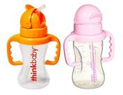 Thinkbaby - Thinkster 270ml Straw Bottle in Pink & Thinkster 270ml Straw Bottle in Orange