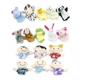 16pcs Educational Puppets Story Time Finger Puppets-10 Animals and 6 People Family Members Included