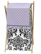 Sweet Jojo Designs Baby/Kids Clothes Laundry Hamper for Sloane Damask and Lavender Polka Dot Girls Bedding