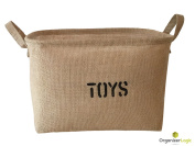 Eco-Friendly Jute Organising Baskets of high quality, fits most shelves great for Baby Storage, Toy Storage or Fabric Drawer, by OrganizerLogic.