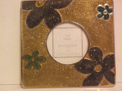 Sonoma Gold Glitter Frame with *Green * Teal * Purple Glitter Flowers*