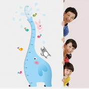 Amaonm® Blue Elephant Measurement Height Chart with Cat Dog and Rabbit Birds Wall Decals Sticker for Growth Kids Children Pvc Removable Home Decoration Art Decor for Babys Room Bedroom Door