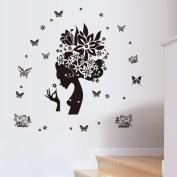 Jiuhila Removable DIY PVC Girl Butterfly Wall Sticker Decor Girls Wall Stickers Sitting Bedroom