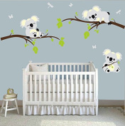 MAFENT(TM)Three Koalas Play on the Tree Branches Wall Decals DIY Vinyl Wall Sticker Nursery Baby Wall Stickers Wall Art For Kids Rooms