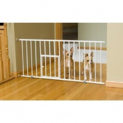 Durable Steel, Mini Gate with Pet Door with Pressure Mount System, White