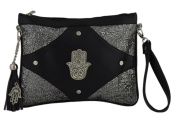 Moroccan Hand Made Embroidered Clutch Hand of Fatima Tote Wallet Bag Exquisite black