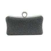 DMIX Women Ring Clutch Evening Bag with Crystal Diamante for Party Prom Wedding Evening