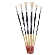 FENICAL 6pcs Wooden Artist Fan Brush Set Acrylic Oil Painting Supplies