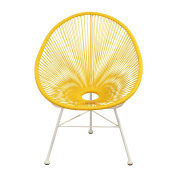 Acapulco Indoor / Outdoor Lounge Chair, Yellow Weave on White Frame