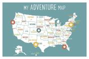 USA Adventure Wall Map Art Print, 46cm x 30cm , Blue, Kid's USA Wall Map,children's Room Decor, Gender Neutral Nursery, Travel Nursery Decor,united States of America Map