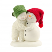 Snowbabies and Snowpinions Department 56 Classic Collection Hug Me Figurine, 8.9cm with Hand-Knit Red and Green Stocking Caps