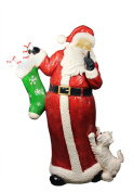 Northlight Seasonal 31304249 Commercial Size Santa Claus with Puppy Dog Christmas Display Decoration, 120cm