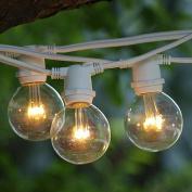 LED String Lights 30m Warm White LED Premium G50 Bulbs C9 Base White Commercial Wire