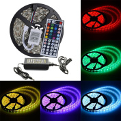 elcPark 5M/16.4FT RGB Changing Colour LED Strip Light + 44keys IR Remote Controller led Kit SMD 5050 300LED Waterproof IP65 ,Black Double sided board