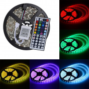 elcPark 5M/16.4FT RGB Changing Colour LED Strip Light + 44keys IR Remote Controller led Kit SMD 5050 300LED Waterproof IP65 ,White Double sided board