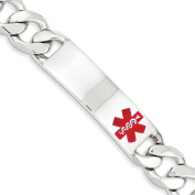 .925 Sterling Silver 13.00MM Red Enamel Medical Alert ID Curb Link Bracelet 7.50 and 8.50 Inches