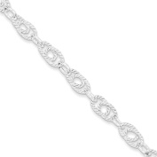 .925 Sterling Silver 7.00MM Double Twist Link Bracelet 7.00 and 8.00 Inches