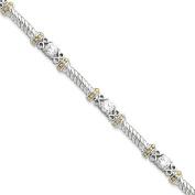 .925 Sterling Silver and Vermeil CZ Tennis Bracelet 18cm