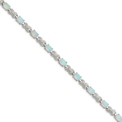 .925 Sterling Silver Created Opal & Illusion Bracelet 18cm
