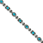 .925 Sterling Silver Synthetic Turquoise and Marcasite Bracelet 18cm
