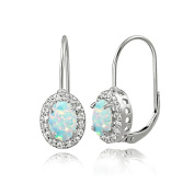 Sterling Silver Created Opal & White Topaz Oval Halo Leverback Earrings