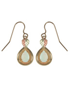 Opal Cabochon Pear Teardrop Earrings, 10k Yellow Gold, 12k Rose and Green Gold Black Hills Gold Motif