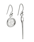 Sterling Silver Button and Sewing Needle French Ear Wire Hook Earrings