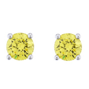 Platinum Plated Sterling Silver Yellow Cubic Zirconia Stud Earrings