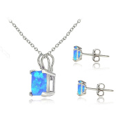 Sterling Silver Created Opal Square Solitaire Pendant & Stud Earring Set