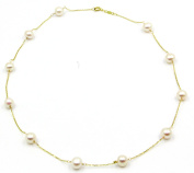 "Freshwater 6.5 mm - 7 mm White Pearl Tin Cup 16"" Necklace 14k Yellow Gold Chain"