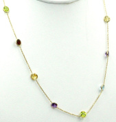 Multicolor 4 mm Gemstones 41cm Necklace 14k Yellow Gold Chain