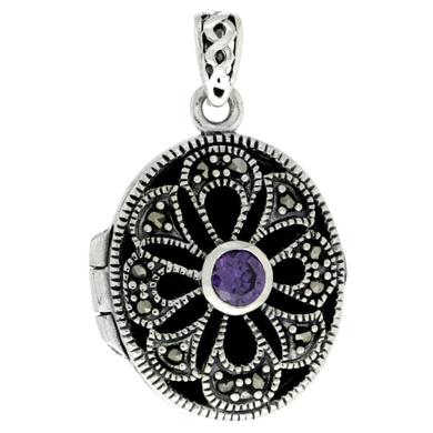 Sterling Silver Natural Amethyst Oval Locket Marcasite Floral