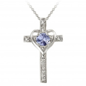 Sterling Silver Tanzanite & Diamond Accent Cross Heart Necklace
