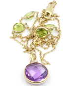 Amethyst, Peridot and Citrine Lariatt 43cm Necklace,2.9 Grammes 14K Yellow Gold with Lobster Lock