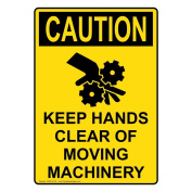 ComplianceSigns Vertical Aluminium OSHA CAUTION Keep Hands Clear Of Moving Machinery Sign, 36cm X 25cm . with English Text and Symbol, Yellow