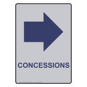 ComplianceSigns Vertical Aluminium Concessions Sign, 36cm X 25cm . with English Text and Symbol, Marine Blue on Silver