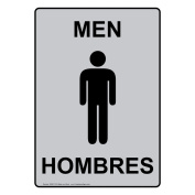 ComplianceSigns Vertical Aluminium Men - Hombres Restroom Sign, 36cm X 25cm . with English + Spanish Text and Symbol, Black on Silver