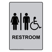 ComplianceSigns Vertical Aluminium ADA Accessible Restroom Sign, 36cm X 25cm . with English Text and Symbol, Black on Silver