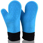 Heat Resistant Silicone Oven Mitt Extra Long with Quilted Cotton Lining Waterproof Pot Holders for Grilling Cooking and Baking